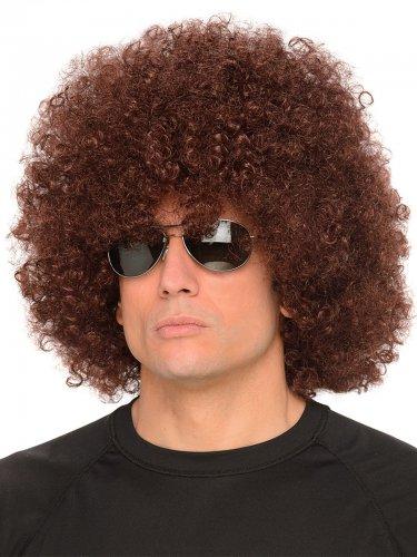 Parrucca afro marrone anni '70per adulto
