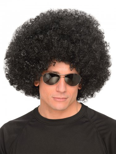 Parrucca afro nera anni '70 per adulto