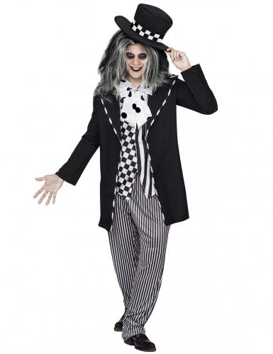 Costume cappellaio halloween bianco e nero uomo