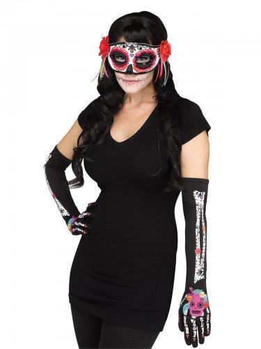Guanti e maschera da scheletro dia de los muertos per donna