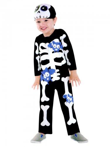 Costume da scheletro con pipistrelli per bambino Halloween