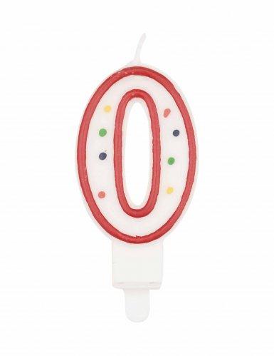 Candela compleanno multicolore numero 0 7,5 cm