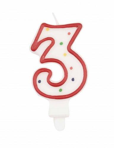 Candela compleanno multicolore numero 3 7,5 cm