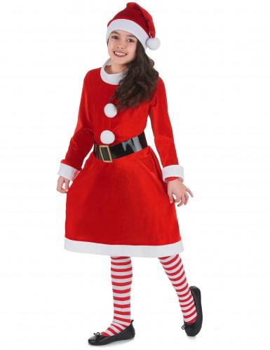 Costume Mamma Natale con pompom per bambina-1