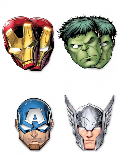 6 maschere di cartoncino Avengers Mighty™