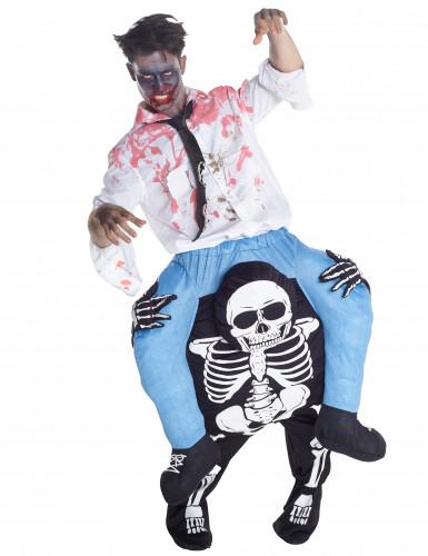 Costume uomo a dorso di scheletro adulto halloween carry me