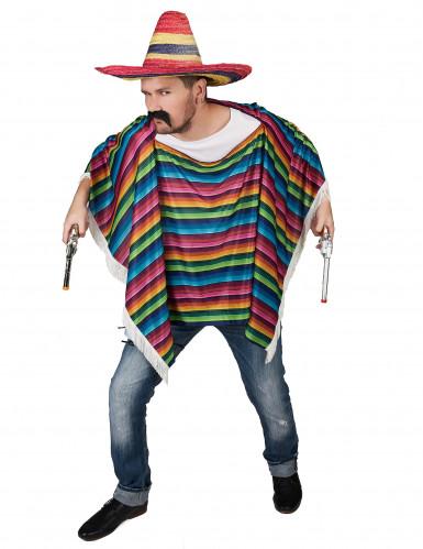 Poncho da messicano multicolore a frange per adulto