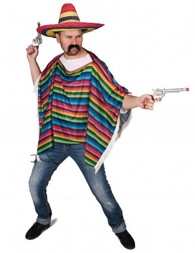 Poncho da messicano multicolore a frange per adulto-1