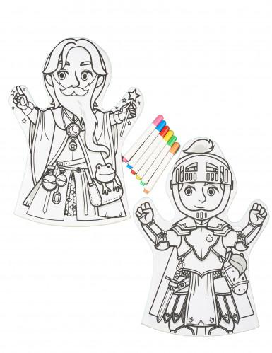 2 Marionette da colorare lavabili e 6 pennarelli-1