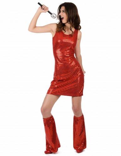 Costume disco rosso con paillettes per donna