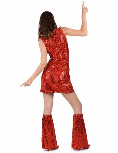 Costume disco rosso con paillettes per donna-2