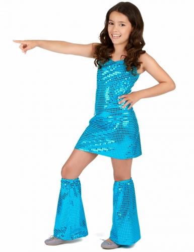 Costume disco turchese con paillettes per bambina-1