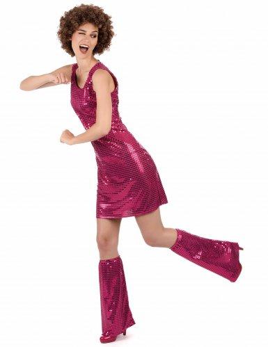 Costume disco fucsia con paillettes per donna-1