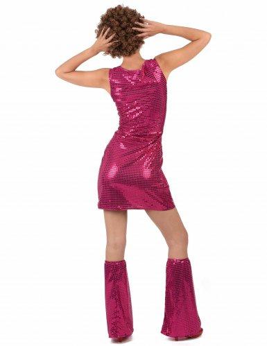 Costume disco fucsia con paillettes per donna-2