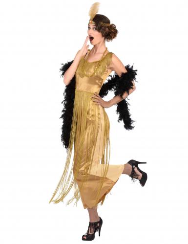 Costume charleston dorato a frange per donna-1