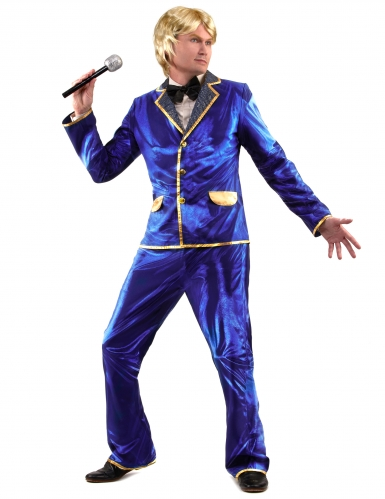 Costume disco brillante blu per uomo