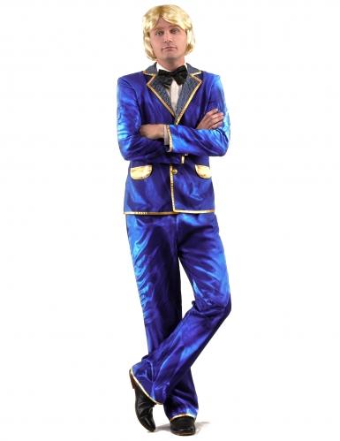 Costume disco brillante blu per uomo-1