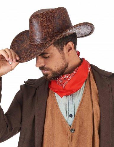 Cappello da Cowboy marrone imitazione cuoio per adulto-1