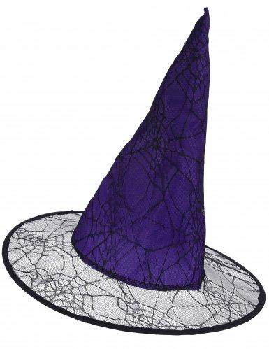 Cappello da strega viola ragnatela adulto
