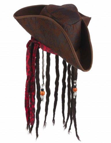 Cappello da pirata marrone con capelli per adulto