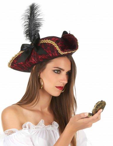 Cappello da pirata rosso con piuma per adulti!-1