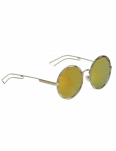 Occhiali rotondi metallici dorati per adulto