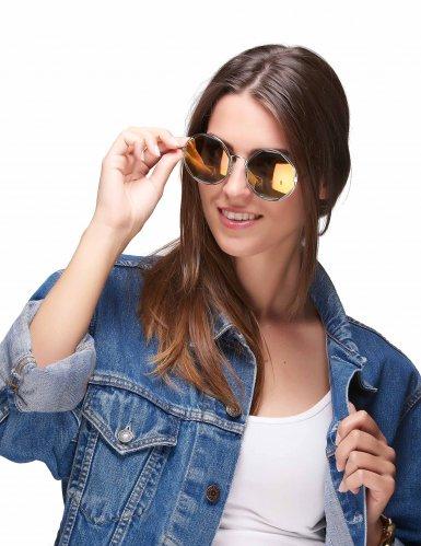 Occhiali rotondi metallici dorati per adulto-1