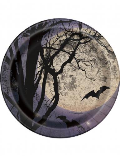 8 piatti piccoli in cartone chiaro di luna halloween 18 cm