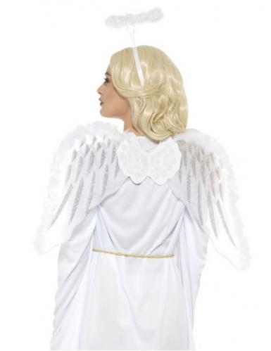 Kit angelo bianco con ali e aureola