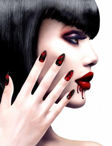 Unghie finte adesive nere insanguinate per donna
