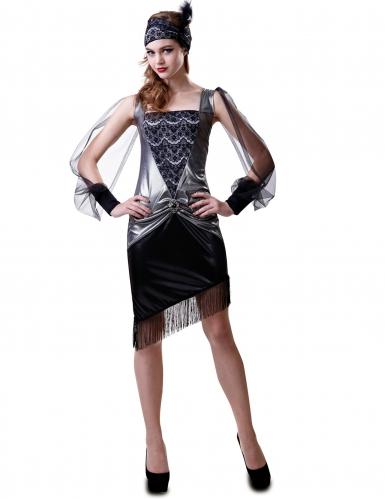 Costume charleston argentato anni '30 per donna