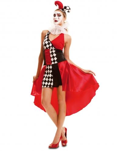Costume da giullare sexy nero e rosso per donna