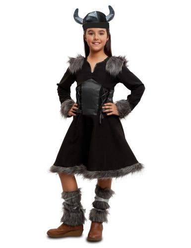 Costume da vichinga nera per bambina