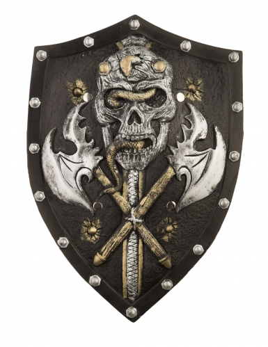Scudo con asce e scheletro da vichingo deluxe 48 cm