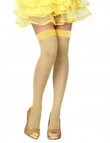 Calze a rete autoreggenti  gialle