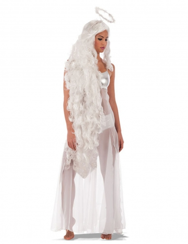 Parrucca lunga angelo con aureola per donna