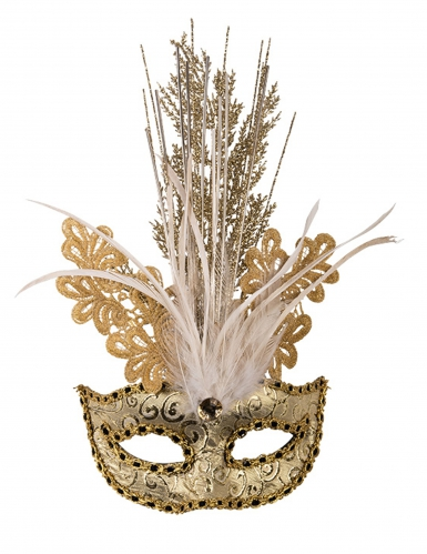 Maschera veneziana deluxe dorata per donna