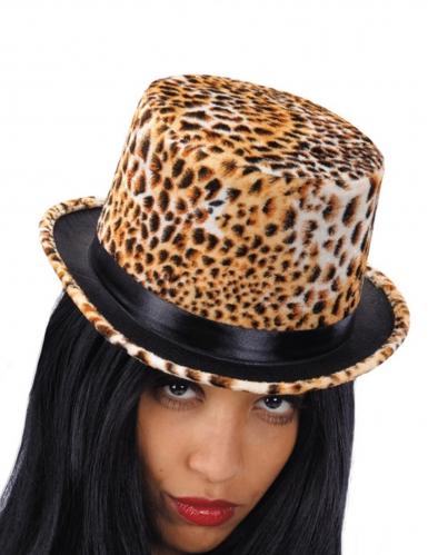 Cappello a cilindro leopardato per donna