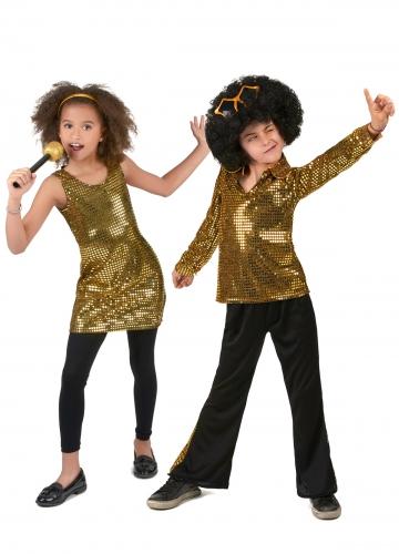 Costume coppia disco dorato con paillettes bambino