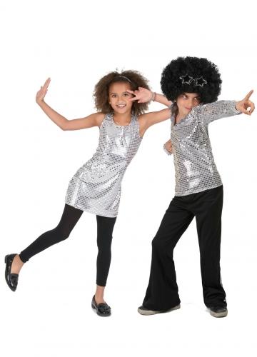 Costume da coppia disco argentato con paillettes bambino