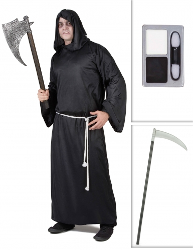 Set costume da morte con falce e trucco halloween