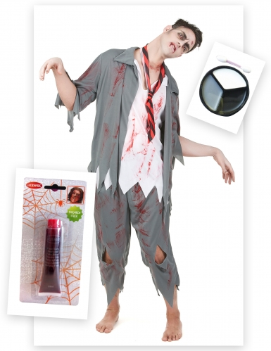 Set costume zombie con accessori per uomo halloween