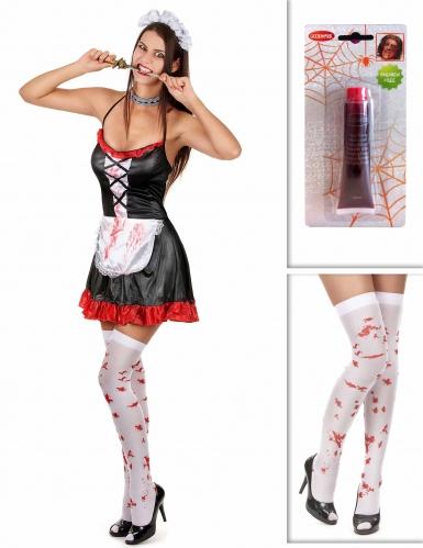 Set costume cameriera zombie con accessori halloween