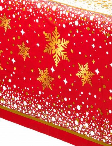 Tovaglia in plastica rossa e dorata per Natale 137 x 213 cm-1