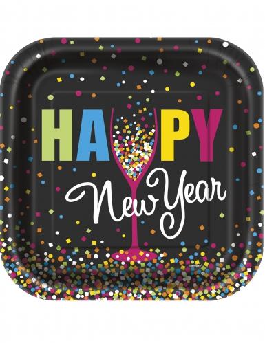Piatti di carta Happy New Year colorato 23 cm