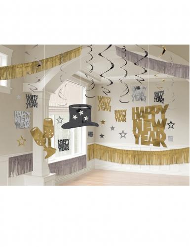 Kit di decorazioni Happy new Year nero/oro/argento