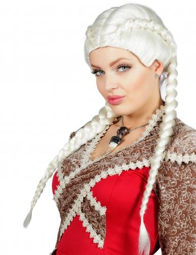 Parrucca biondo platino con trecce per donna