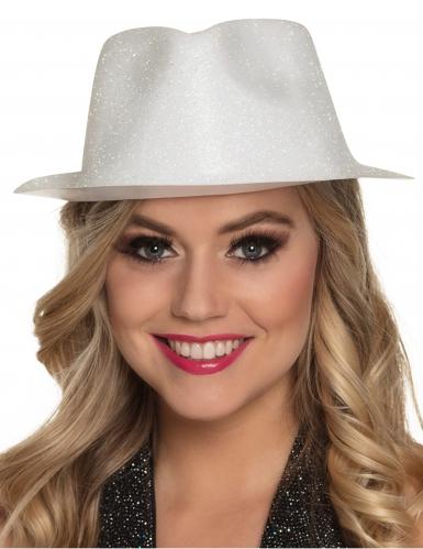 Cappello bianco con brillantini adulto-1
