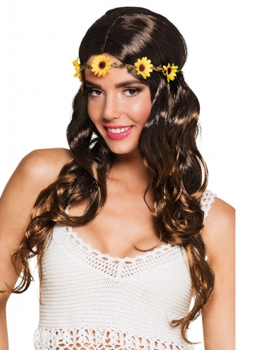 Parrucca lunga castana con fascia di fiori per donna