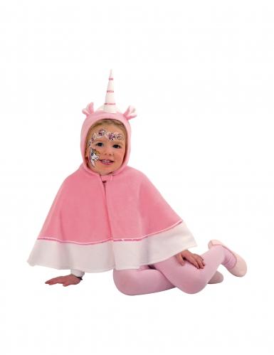 Mantello da unicorno con cappuccio rosa per bambina
